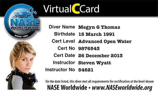 The NASE VirtualCCard | NASE Worldwide Diver Training Blog